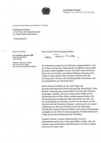 Brief an den Bundespräsidenten Dr. Frank-Walter Steinmeier