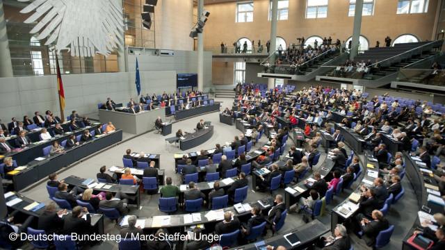 Blick von oben auf das Plenum